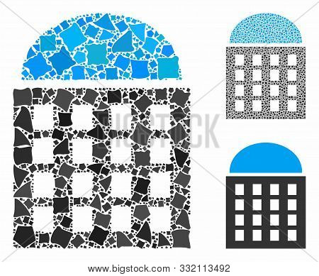 Office Building Mosaic Of Bumpy Pieces In Various Sizes And Color Tones, Based On Office Building Ic
