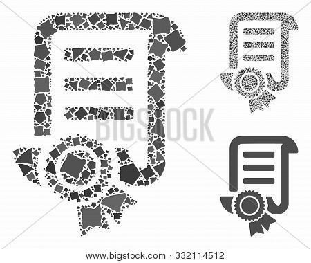 Patent Mosaic Of Tuberous Pieces In Various Sizes And Color Tones, Based On Patent Icon. Vector Roug