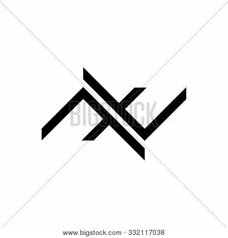 Letter Nt Stripes Geometric Logo Vector Unique Unusual Concept