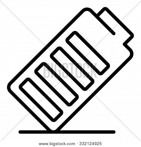 Battery Tilted Icon. Outline Battery Tilted Vector Icon For Web Design Isolated On White Background
