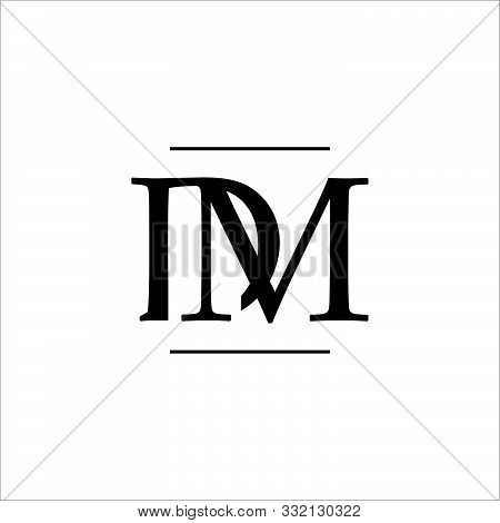 Luxury Curved Initial D M Letter Logo Design Vector Graphic Concept