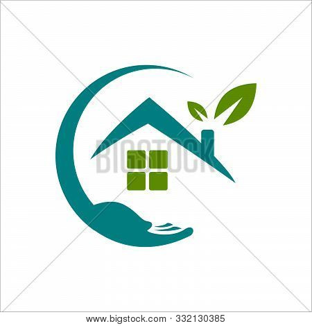 Home Care Logo Design Vector. Leaf Hand And House Symbol Graphic Concept