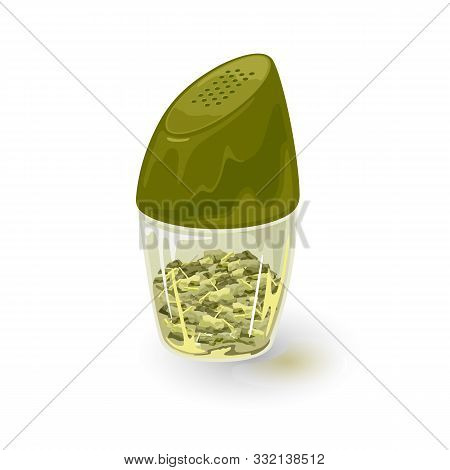 Tarragon Spice Is In Glass Pepper Caster, Tin, Jar With Green Plastic Lid. Aromatic Bay Or Laurel Le