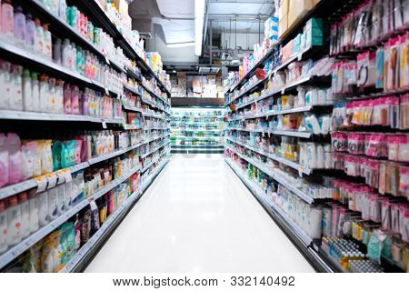 Blurred Background Of Supermarket Or Convenience Stores , Storehouse Industrial And Logistic Company