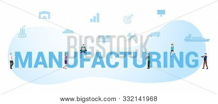 Manufacturing Business Concept With Big Word Or Text And Team People With Modern Flat Style - Vector