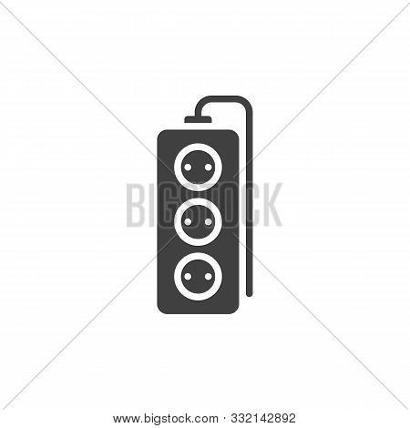 Wired Electric Extension Cord Vector Icon. Filled Flat Sign For Mobile Concept And Web Design. Tree