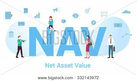 Nav Net Asset Value Concept With Big Word Or Text And Team People With Modern Flat Style - Vector Il