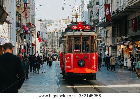 Istanbul/turkey - 11 07 2019: Red Retro Tram On Crowded Istiklal Street  In Istanbul. Red Hustorical