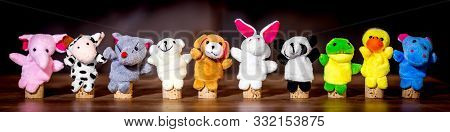 Panorama, Animal Finger Puppets, Concept Equiment For A Psychologist Or Therapist, Wooden Table