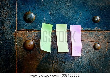 Blue Metallic Pinboard With Three Memo Postit Paper With Copyspace