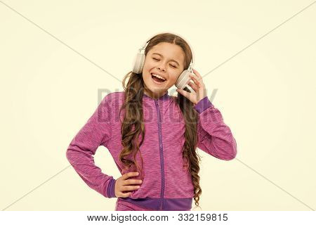 Breaking Into A Song. Adorable Singer Isolated On White. Small Child Doing Vocal On Song. Little Gir