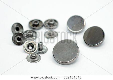 Metal Button For Clothes, Nickel Color. Sewing Accessories For Outerwear Production. Components Of T