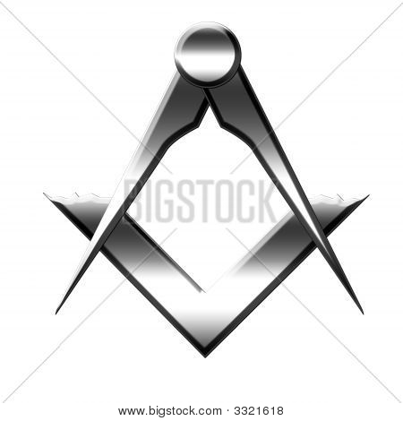 silver Freemason symbol on a white background poster