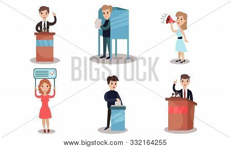 Political Campaign, People Making Choices. Honest Democratic Elections Vector Illustration Set Isola