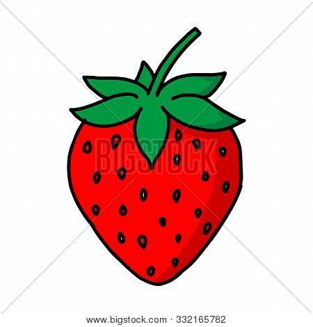 Garden Strawberry Fruit Or Strawberries. Modern Flat Cartoon Style Vector Illustration Icons. Isolat