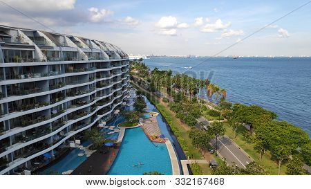 Singapore- 28 Oct, 2018: Condominium In Sentosa Cove With Modern Residence In Singapore
