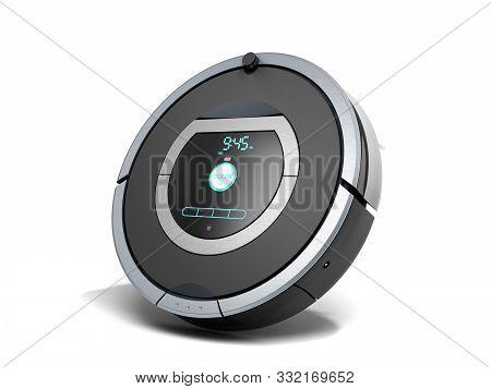 Smart Robotic Vacuum Cleaner 3d Render On White