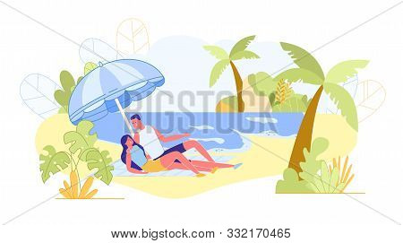 Bright Banner, Vacation at Sea with your Beloved. Couple in Love Lie Beach on Litter under Large Beach Umbrella. Guy Tells Something to his Girlfriend. Ocean Waves Sway next to them. poster