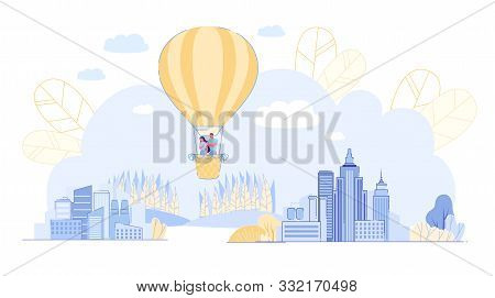 Prompt Banner, Couple Soars In Sky In Balloon. Guy And Girl Fly Over Big City, Park And Tall Skyscra