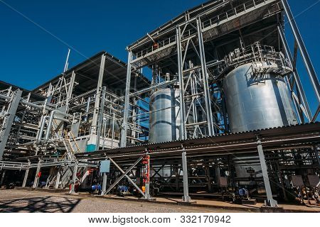 Chemical Factory. Elastomer And Thermoplastic Production Line. Large Tanks For Preparing Monomers An