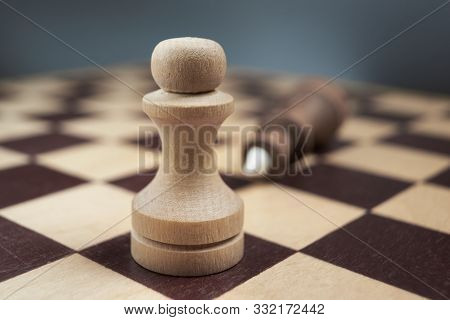 White Chess Pawn Defeated Black King. The Concept Of Never Giving Up. Background In Blur.