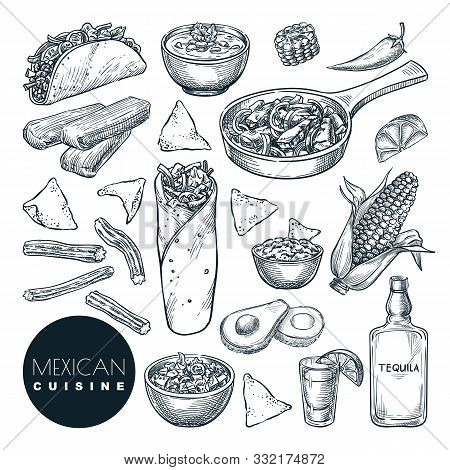 Mexican Traditional Food, Vector Sketch Illustration. Set Of Isolated Hand Drawn Snack Meal. Restaur
