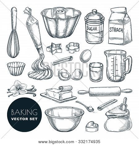 Baking Tools And Ingredients. Vector Hand Drawn Sketch Illustration. Cooking And Recipe Design Eleme