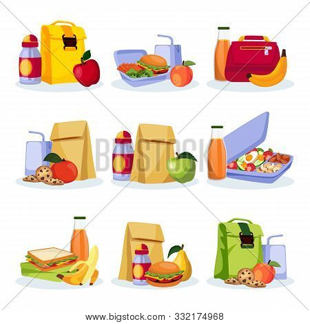 Kids School Healthy Lunch And Snacks. Vector Flat Cartoon Illustration. Lunchboxes With Home Made Me