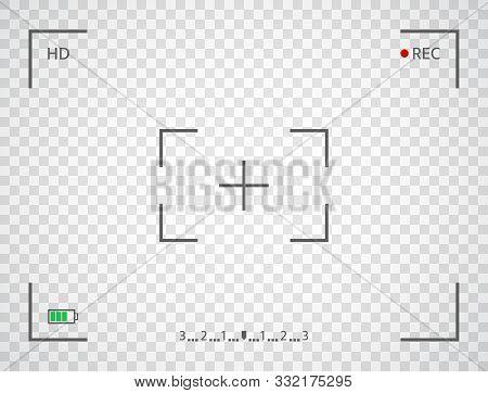 Camera Frame. Digital Camera Display Interface. Viewfinder Screen On Transparent Background. Photo F