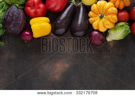 Healthy Food Concept. Fresh Vegetables On Dark Background