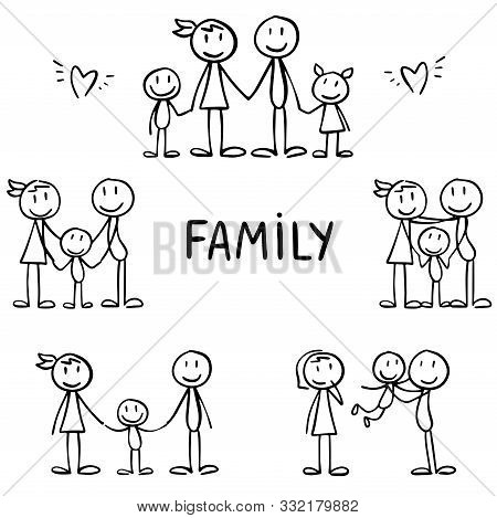 Set Of Stick Figures, Parents. Happy Family, Motherhood And Joy With Children