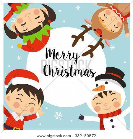 Merry Christmas Greeting Card. 4 Kids In Christmas Costume - Elf Reindeer Santa Snowman Surrounding
