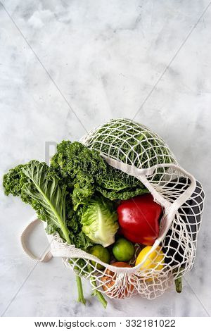 Zero Waste And Healthy Food Concepts. Vegetables In A Net Bag