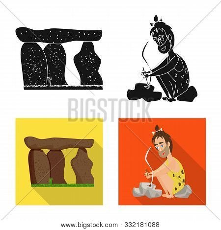 Vector Design Of Evolution And Prehistory Sign. Collection Of Evolution And Development Stock Vector