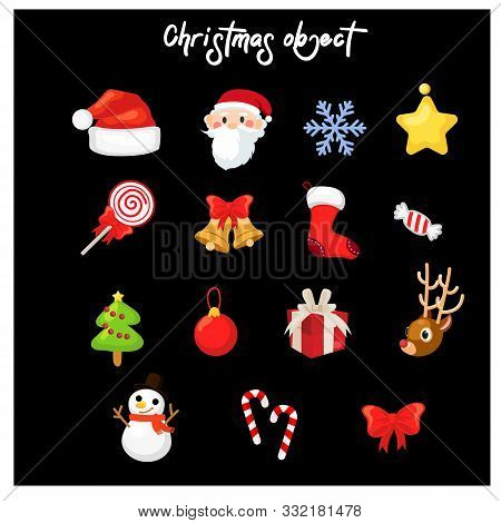 Set Of Variety Christmas  Decoration Object,cartoon Design Vector Illustration, Merry Christmas And