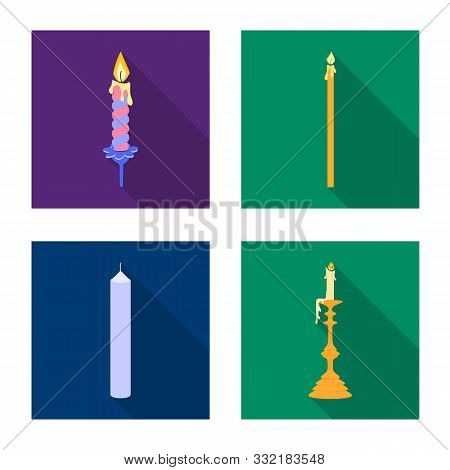 Vector Illustration Of Candlelight And Decoration Icon. Collection Of Candlelight And Flame Stock Sy