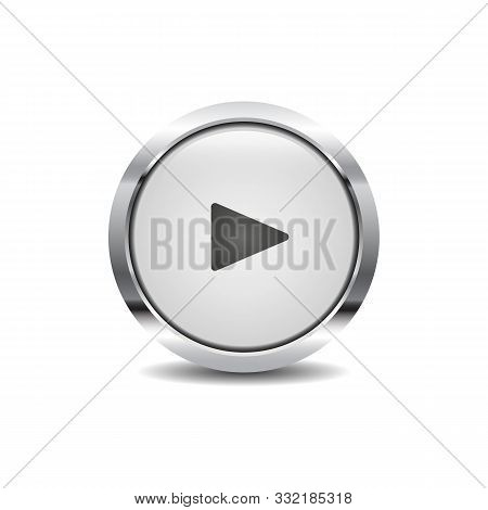 Round 3d Button With Metal Frame Play Icon Vector Image. Multi Media Icon Button Symbol Vector Desig