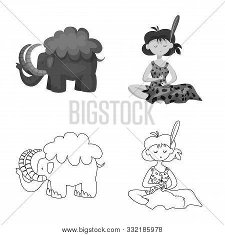 Vector Design Of Evolution And Prehistory Logo. Set Of Evolution And Development Stock Vector Illust