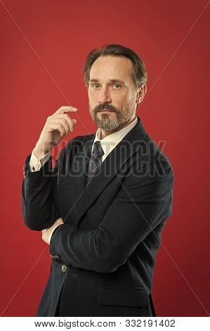 First Impression Concept. Businessman Fashionable Outfit. Attractive Man Wear Suit. Perfect Elegant