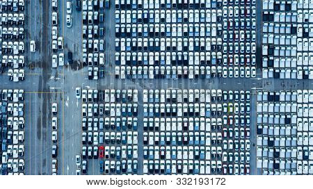 Aerial View Cargo Ship Transportation Of Business Logistic Sea Freight, New Cars Produced By Year Up