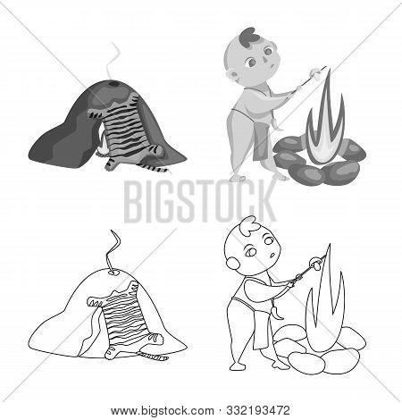 Vector Illustration Of Evolution And Prehistory Logo. Set Of Evolution And Development Stock Vector