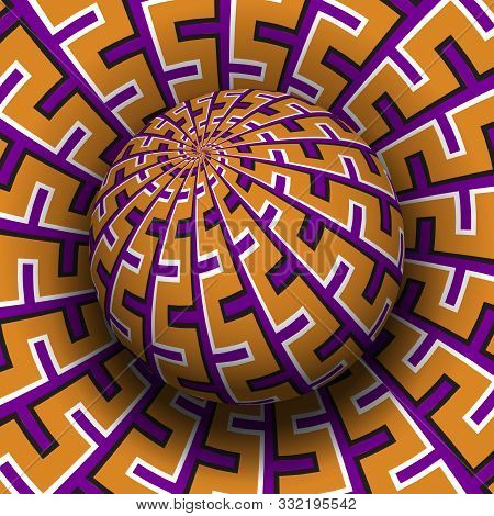 Patterned Sphere Soaring Above The Same Surface. Optical Illusion Hypnotic Vector Illustration.