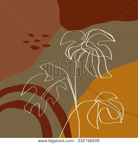 Modern Abstract Shapes And Plants Terrae Modern Geometric Texture Poster Terracotta Floral Art Print Painting Fashion Color Abstraction Contemporary Burnt Orange Vector Illustration Clipart poster