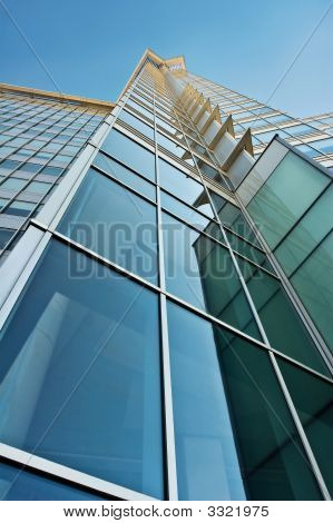 Blue And Green Glass Office Tower