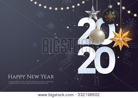 Happy New Year 2020 Greeting Card Template With Copy Space. Hanging Christmas Toys And Garlands With