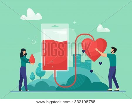 Blood Donation Vector Illustration. Emergency And Blood Transfusion Concept. Patient Support. Blood
