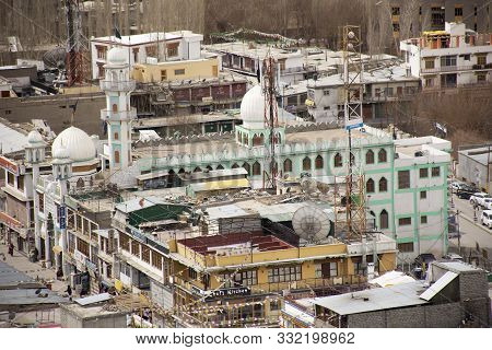 View Landscape And Cityscape Of Leh Ladakh Village With Classical Ancient Mosque From Viewpoint At L