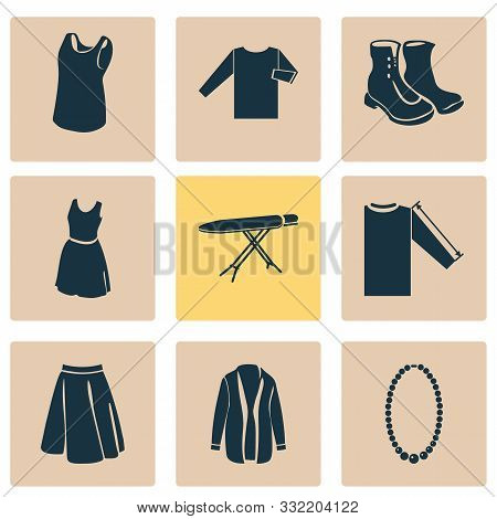 Style Icons Set With Cardigan, Sleeve Length, Apparel And Other Clothes Elements. Isolated Vector Il