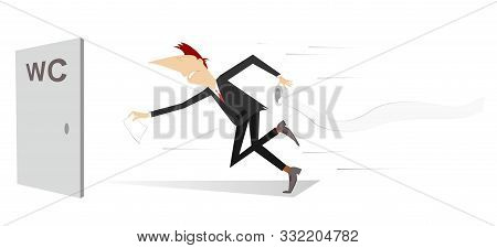 Man With Diarrhea Rushing To The Toilet Illustration. Man With Diarrhea Holds A Tissue Roll Running
