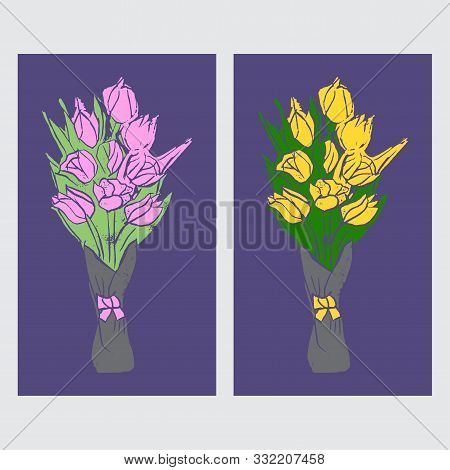 Set Of  Bouquets With Yellow And Pink Tulips On Purple Background In Pop Art Style. Hand Made Linocu